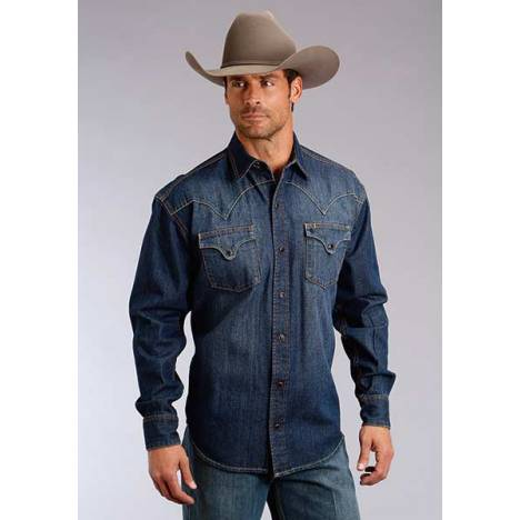Stetson Mens Original Rugged Fancy Back Yoke Denim Long Sleeve Snap Shirt