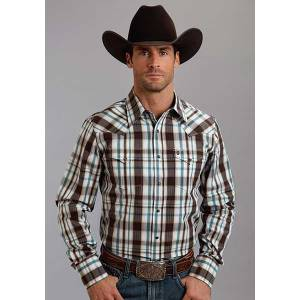 Stetson Mens Original Rugged Liberty Plaid Long Sleeve Snap Shirt