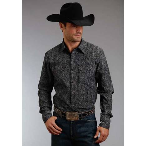 Stetson Mens Original Rugged Pin Point Floral Long Sleeve Snap Shirt