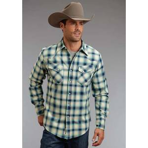 Stetson Mens Original Rugged Rugged Twill Check Long Sleeve Snap Shirt - Blue
