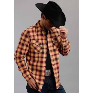 Stetson Mens Original Rugged Rugged Twill Check Long Sleeve Snap Shirt - Orange