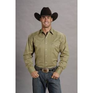 Stetson Mens Solid Twill Long Sleeve Snap Shirt - Khaki