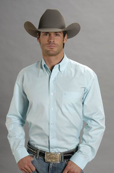 Stetson Mens Solid Oxford Pinpoint Long Sleeve Button Shirt - Aqua