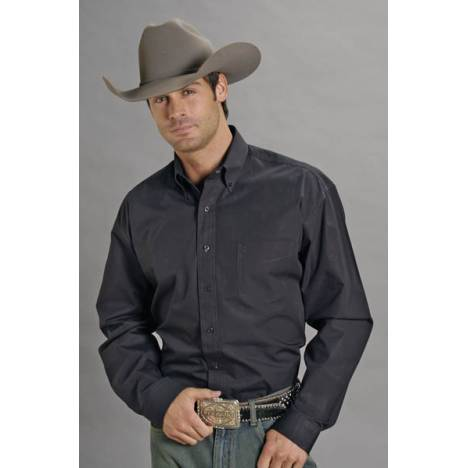 Stetson Mens Solid Poplin Open Pocket Long Sleeve Shirt - Black
