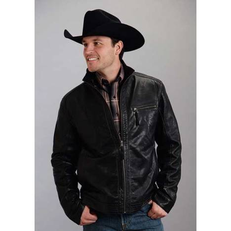 Stetson Mens Stand Up Collar With Stitch Detail Moto Jacket