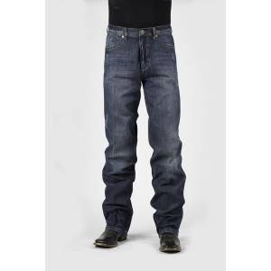 Stetson Mens Very Dark Navy Wash With Creasing Allover Mid Rise Jeans