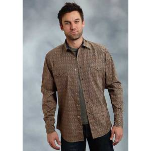 Roper Performance Fall I Mens Eye Diamond Print Long Sleeve Snap Shirt