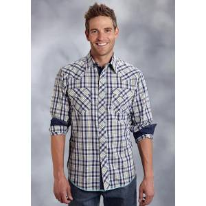 Roper Performance Summer I Mens Southwest Plaid Long Sleeve Ring Snap Shirt