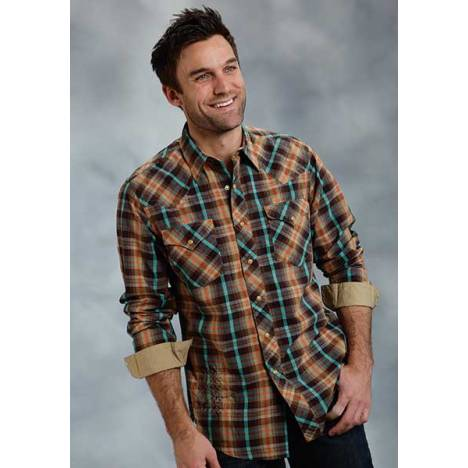 Roper Performance Fall Ii Mens Timberline Plaid Western Long Sleeve Snap Shirt