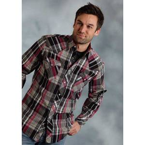 Roper Performance Fall Iii Mens Dobby Plaid Western Long Sleeve Pearl Snap Shirt