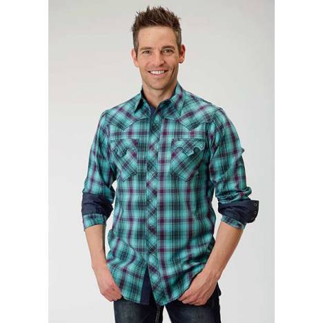 Roper Performance Mens Moto Plaid Dobby Long Sleeve Ring Snap Shirt - Green