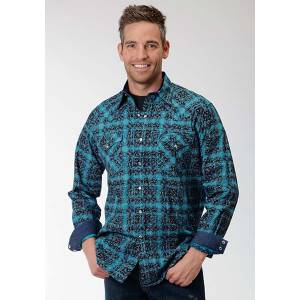 Roper Performance Mens Paisley Printed Plaid Long Sleeve Pearl Snap Shirt