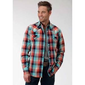 Roper Performance Mens Sunrise Buffalo Plaid Long Sleeve Snap Shirt