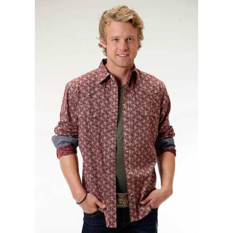 Roper Performance Mens Vintage Western Floral Long Sleeve Opaque Snap Shirt