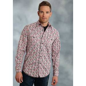 Roper Performance Spring Ii Mens Hollow Diamond Long Sleeve Diamond Snap Shirt