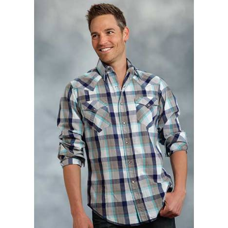 Roper Performance Spring Iv Mens Plaid Long Sleeve Western Pearl Snap Shirt