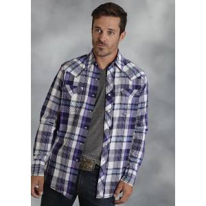 Roper Performance Summer I Mens Eastern Plaid Long Sleeve Pearl Snap Shirt