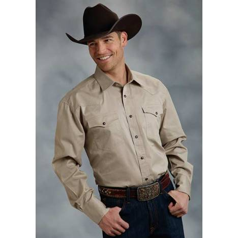 Roper Mens Tall Amarillo Solid Poplin Long Sleeve Snap Shirt - Khaki Brown