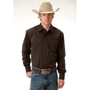 Roper Mens Amarillo Black Fill Poplin Long Sleeve Snap Shirt - Brown