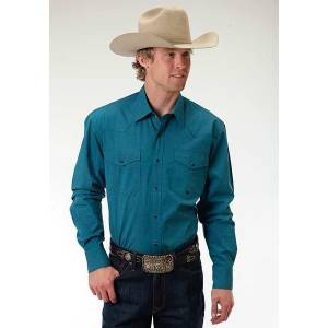 Roper Mens Amarillo Black Fill Poplin Long Sleeve Snap Shirt - Teal