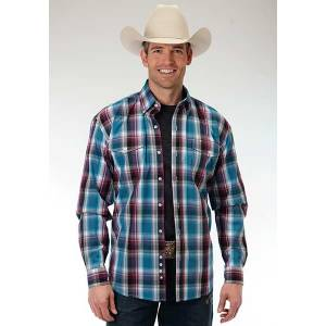 Roper Mens Amarillo Blueberry Ombre Plaid Two Pocket Long Sleeve Button Shirt