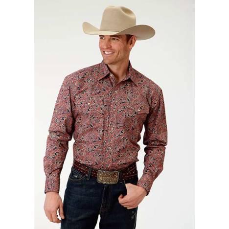 Roper Mens Amarillo Coral Layered Paisley Long Sleeve Snap Shirt