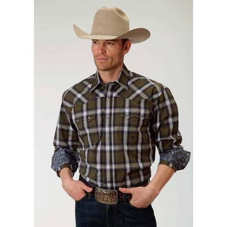 Roper Mens Amarillo Green River Plaid Long Sleeve Snap Shirt - Brown