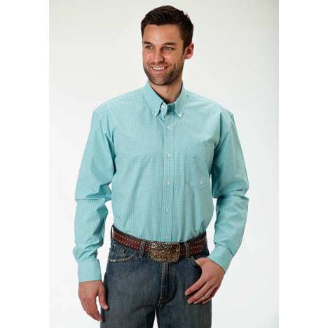 Roper Mens Amarillo Mini Checks Open Pocket Long Sleeve Button Shirt - Aqua