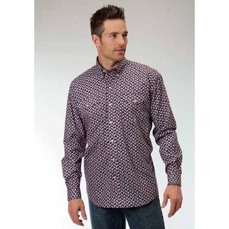 Roper Mens Amarillo Mini Paisley Allover Print Long Sleeve Button Shirt