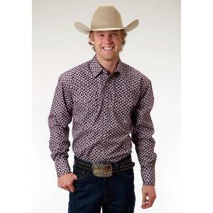 Roper Mens Amarillo Mini Paisley Long Sleeve Snap Shirt