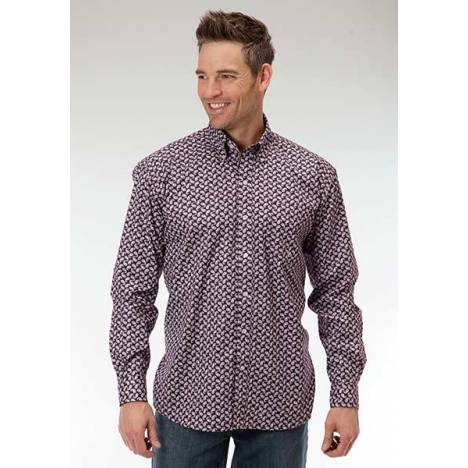 Roper Mens Amarillo Mini Paisley Open Pocket Long Sleeve Button Shirt - Purple