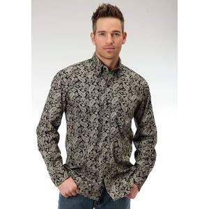 Roper Mens Amarillo Newspaper Paisley Open Pocket Long Sleeve Button Shirt