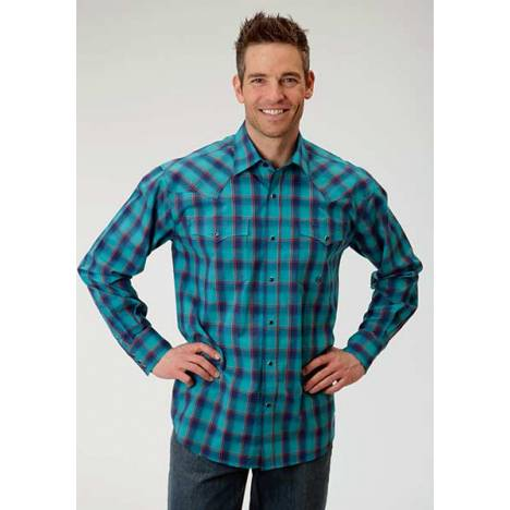 Roper Mens Amarillo Ombre Check Long Sleeve Snap Shirt