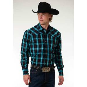 Roper Mens Amarillo Onyx Check Plaid Long Sleeve Snap Shirt - Black/Teal