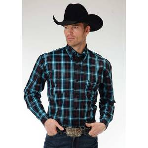 Roper Mens Amarillo Onyx Check Plaid Two Pocket Long Sleeve Button Shirt