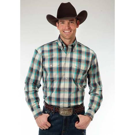Roper Mens Amarillo Plaid Two Pocket Long Sleeve Button Shirt - White/Turquoise