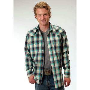 Roper Mens Amarillo Sage Plaid Long Sleeve Snap Shirt - White/Turquoise