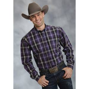 Roper Mens Amarillo Smoke House Plaid Open Pocket Long Sleeve Button Shirt