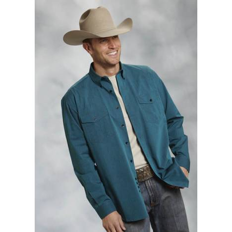 Roper Mens Amarillo Solid Black Fill Poplin Long Sleeve Button Shirt - Turquoise
