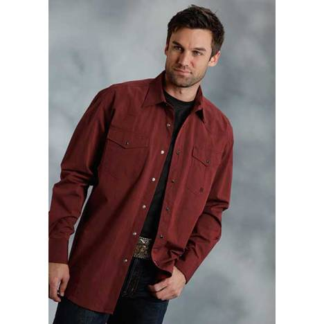 Roper Mens Tall Amarillo Black Fill Poplin Long Sleeve Snap Shirt - Brick Red
