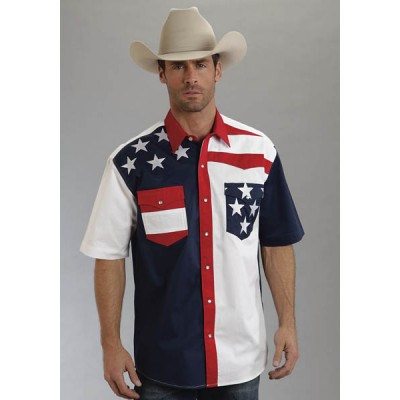 Roper Mens Americana Colorblock Flag Short Sleeve Snap Shirt
