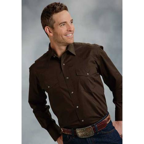 Roper Mens Poplin One Point Yoke Long Sleeve Variegated Snap Shirt - Brown