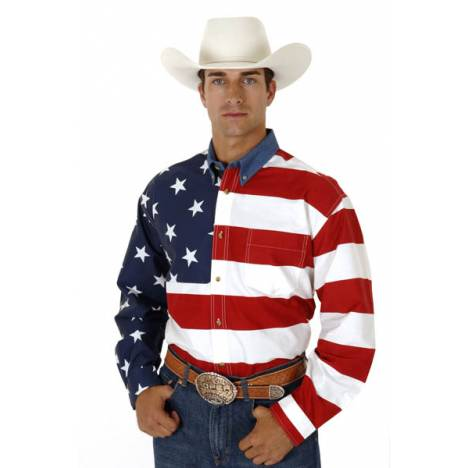 Roper Mens Stars & Stripes American Flag Twill Long Sleeve Button Shirt