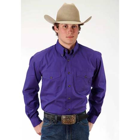 Roper Mens Poplin Western Long Sleeve Variegated Button Shirt - Purple