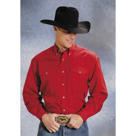 Roper Mens Poplin Western Long Sleeve Variegated Button Shirt - Red