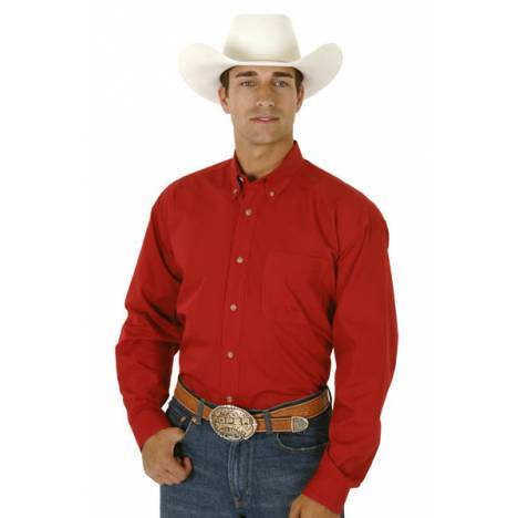 Roper Mens Poplin Long Sleeve Variegated Button Shirt - Red