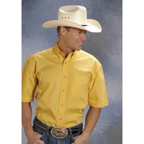Roper Mens Solid Poplin Short Sleeve Variegated Button Shirt -Yellow