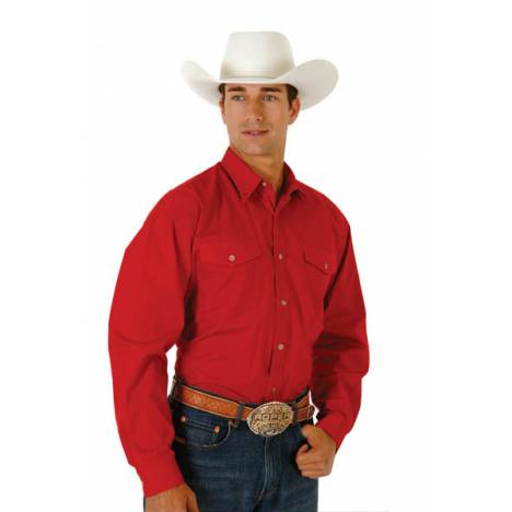 Roper Mens Tall Solid Poplin Western Long Sleeve Variegated Button Shirt - Red