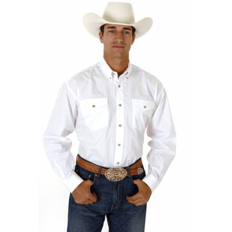 Roper Mens Tall Solid Poplin Western Long Sleeve Variegated Button Shirt - White