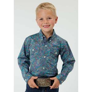 Roper Boys Antique Paisley Long Sleeve Button Shirt